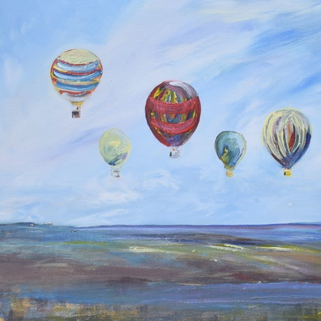 (CreativeWork) balloons in a landscape by Tina Barr. Acrylic Paint. Shop online at Bluethumb.