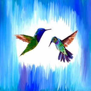 (CreativeWork) Blue birds by Cathy Snow. arcylic-painting. Shop online at Bluethumb.
