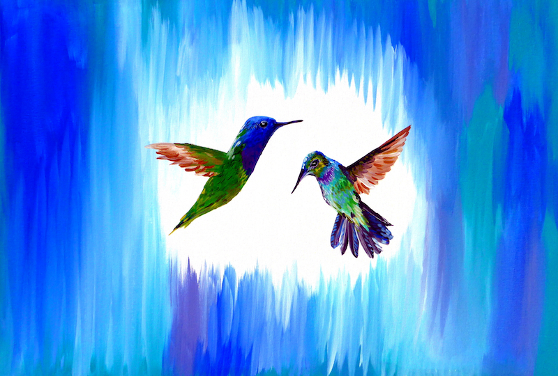 (CreativeWork) Blue birds by Cathy Snow. Acrylic Paint. Shop online at Bluethumb.