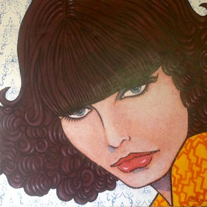 "(CreativeWork) ""Mod Millie "" by Hilary Gaston. arcylic-painting. Shop online at Bluethumb."
