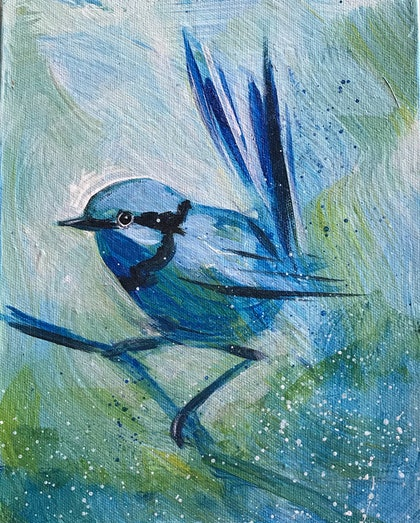 (CreativeWork) Wren in blue by Jacqui McKinnon. arcylic-painting. Shop online at Bluethumb.
