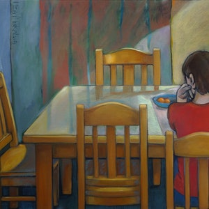 (CreativeWork) Still life with chairs, figure and light by Liza Merkalova. oil-painting. Shop online at Bluethumb.