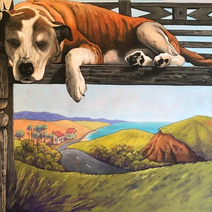 (CreativeWork) Let Sleeping Dogs Lie...No. 2 by Mary Conder. arcylic-painting. Shop online at Bluethumb.