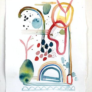 (CreativeWork) Growing by Jess Racklyeft. watercolour. Shop online at Bluethumb.