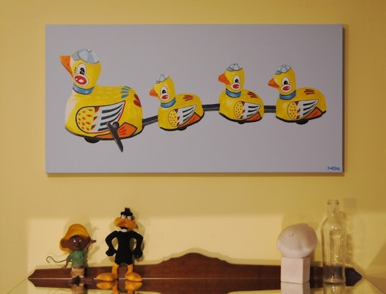 (CreativeWork) Tin Ducks, All In A Row. by BRETT ROSE. Acrylic Paint. Shop online at Bluethumb.