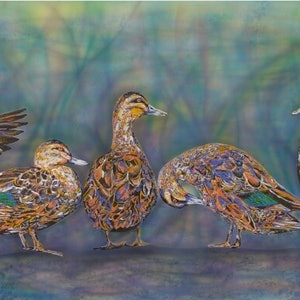 (CreativeWork) Ducks by Susan Willemse. arcylic-painting. Shop online at Bluethumb.