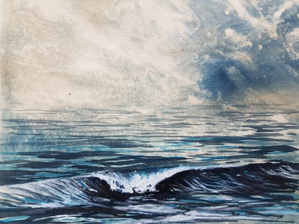 (CreativeWork) Moody Seas 2 by Denise Duffy. mixed-media. Shop online at Bluethumb.