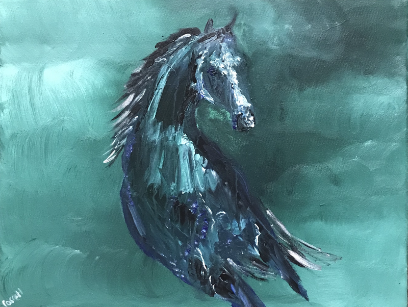 (CreativeWork) The Gallop by Paula Garrett. arcylic-painting. Shop online at Bluethumb.