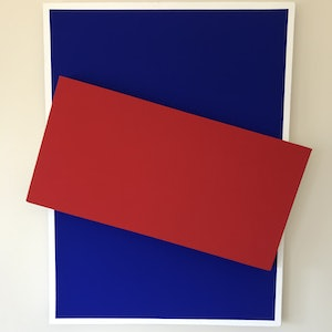 (CreativeWork) Untitled  (Red over Blue) by Joshua Reilly. arcylic-painting. Shop online at Bluethumb.