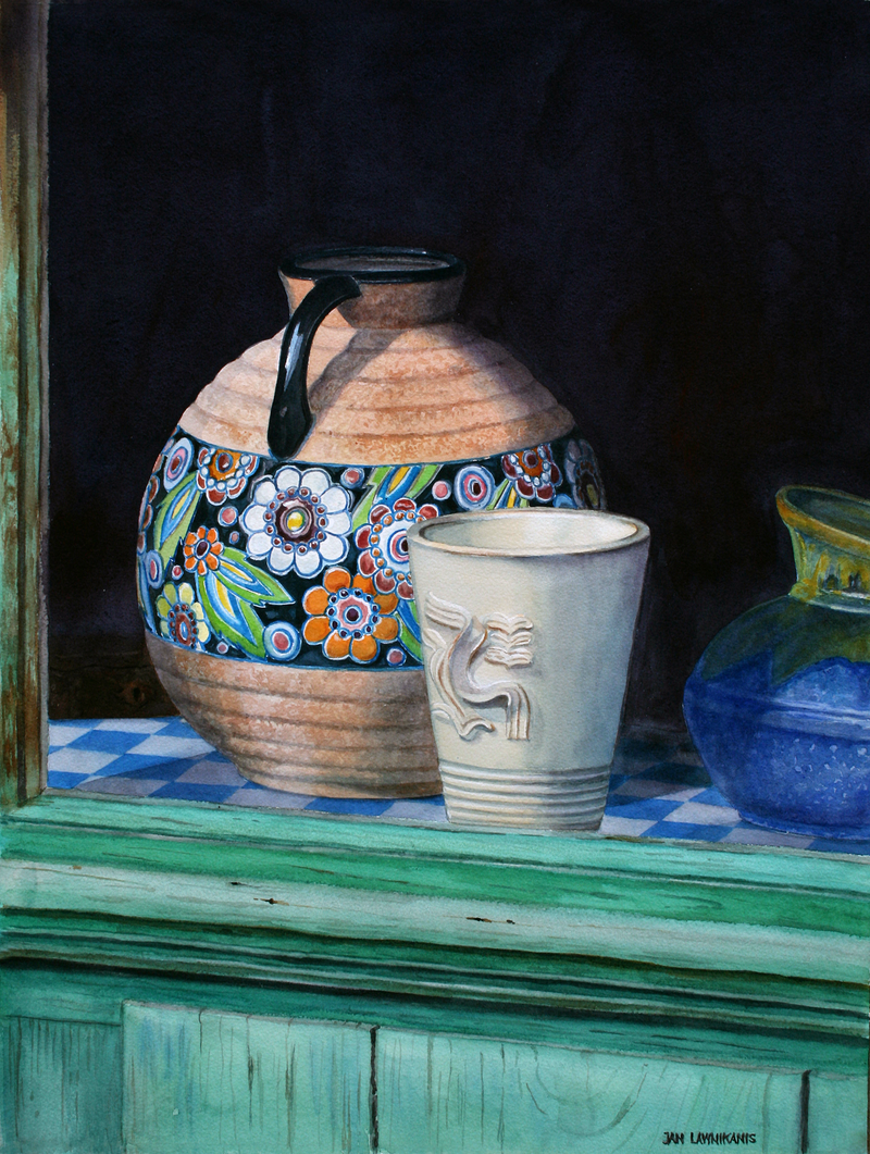 (CreativeWork) THE FRENCH POTTER'S WINDOW by JAN LAWNIKANIS. Watercolour Paint. Shop online at Bluethumb.