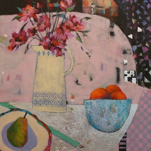 (CreativeWork) THE ORANGE BOWL by Sandra Michele Knight. mixed-media. Shop online at Bluethumb.