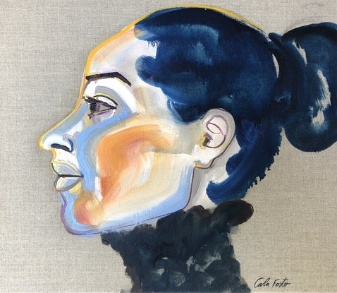 (CreativeWork) Blue profile by Carla Foster. Oil Paint. Shop online at Bluethumb.
