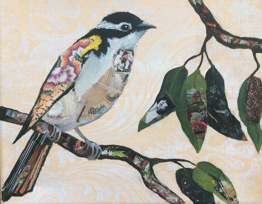 (CreativeWork) Bird of Desire 1 : Native bird series by Jude Willis. Mixed Media. Shop online at Bluethumb.