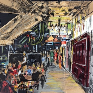 (CreativeWork) Dinner On Lygon Street by Juliet D Collins. mixed-media. Shop online at Bluethumb.