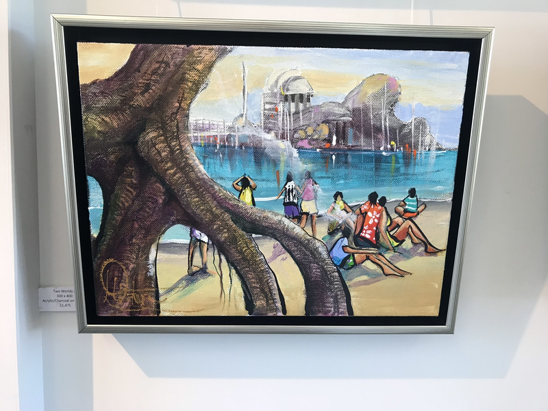 (CreativeWork) Two Worlds II - Original Artwork  by Donald James Waters OAM. arcylic-painting. Shop online at Bluethumb.