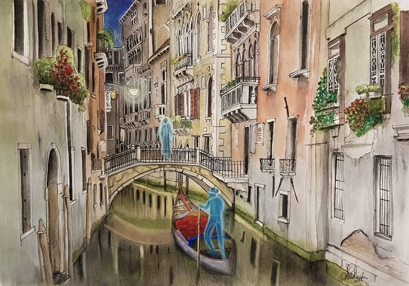 (CreativeWork) Venice By Night Ghosts I Ed. 1 of 50 by Chelle Destefano. #<Filter:0x000055b1a1eca5b0>. Shop online at Bluethumb.