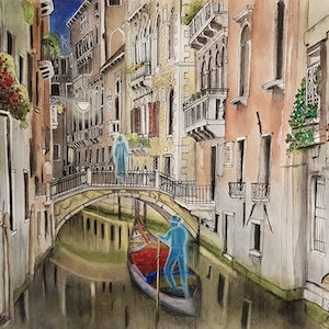 (CreativeWork) Venice By Night Ghosts I Ed. 1 of 50 by Chelle Destefano. print. Shop online at Bluethumb.