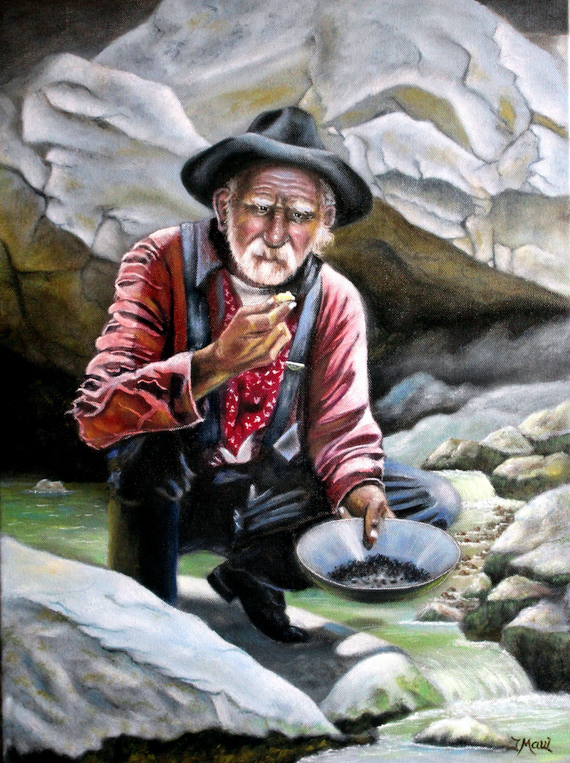 (CreativeWork) Panning For Gold by Joseph Maul. oil-painting. Shop online at Bluethumb.