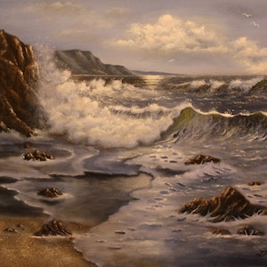 (CreativeWork) JM3155 Breaking Waves by Joseph Maul. oil-painting. Shop online at Bluethumb.