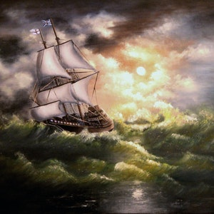 (CreativeWork) JM3145 Stormy Night by Joseph Maul. oil-painting. Shop online at Bluethumb.