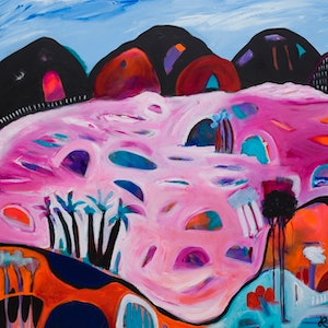 (CreativeWork) Pink Lakes by Jayne Rolinson. arcylic-painting. Shop online at Bluethumb.