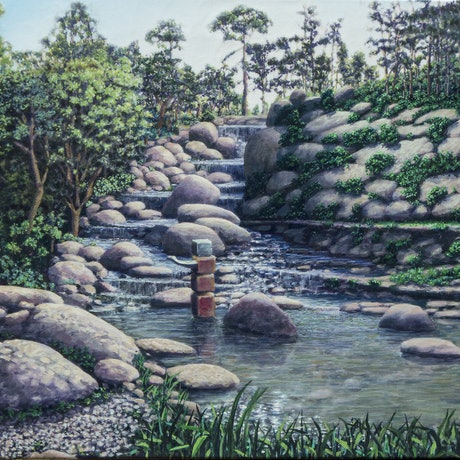 (CreativeWork) Waterfall by francois olivier. Acrylic Paint. Shop online at Bluethumb.