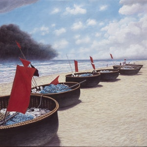 (CreativeWork) Barques by francois olivier. arcylic-painting. Shop online at Bluethumb.