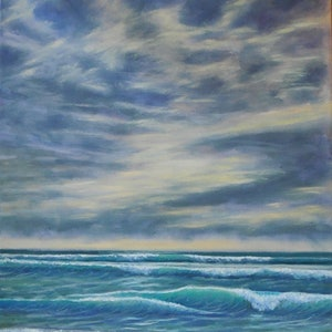 (CreativeWork) Beach Sunrise 3 by Anne Strambi. oil-painting. Shop online at Bluethumb.