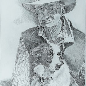 (CreativeWork) Farmer and his dog by Peter Macdonald. drawing. Shop online at Bluethumb.