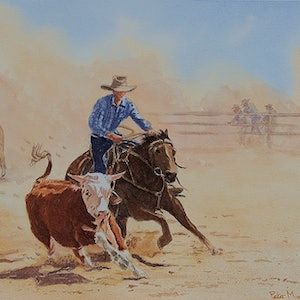 (CreativeWork) Round Up by Peter Macdonald. watercolour. Shop online at Bluethumb.