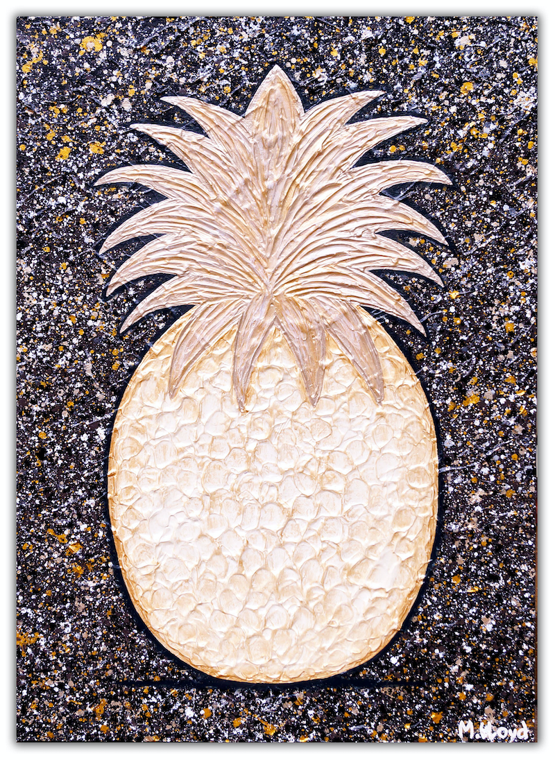 (CreativeWork) Pineapple - Golden Abstract Textures  by Miranda Lloyd. mixed-media. Shop online at Bluethumb.