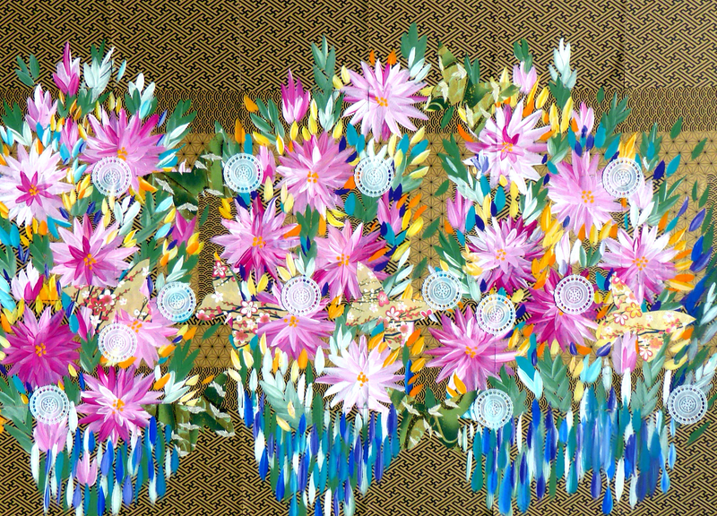 (CreativeWork) Dahlias, Butterflies, Origami papers by Cathy Snow. arcylic-painting. Shop online at Bluethumb.