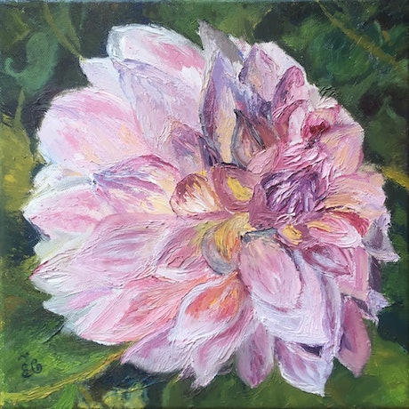 (CreativeWork) Dahlia Original Oil Painting on Streched Canvas by Elena Grigoreva. Oil. Shop online at Bluethumb.