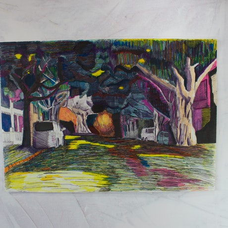 (CreativeWork) Newtown Streetscape by Marko Hrubyj-Piper. Mixed Media. Shop online at Bluethumb.