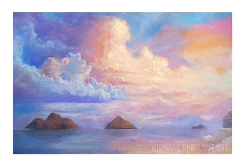 (CreativeWork) Sunset at Lanikai Beach, Kailua, Hawaii (Limited Edition Print /100) Ed. 1 of 100 by Michelle Angelique. print. Shop online at Bluethumb.