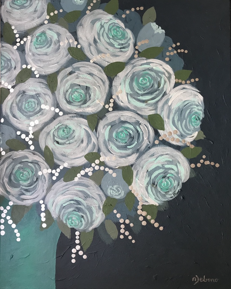 (CreativeWork) Teal with Roses by Nicole Debono. arcylic-painting. Shop online at Bluethumb.