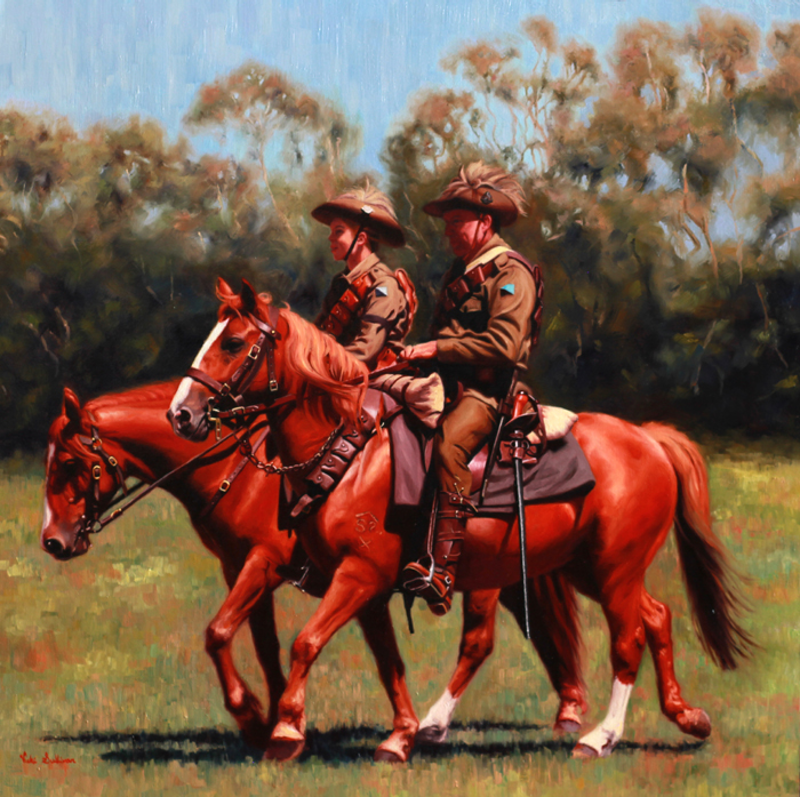 (CreativeWork) Lighthorse, Walers and Kangaroo feathers by Vicki Sullivan. oil-painting. Shop online at Bluethumb.