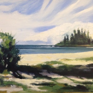 (CreativeWork) Kirra Beach by Leanne Manns. arcylic-painting. Shop online at Bluethumb.