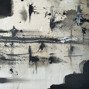 (CreativeWork) Black and White Australia no.1  by Aaron D Bryant. arcylic-painting. Shop online at Bluethumb.