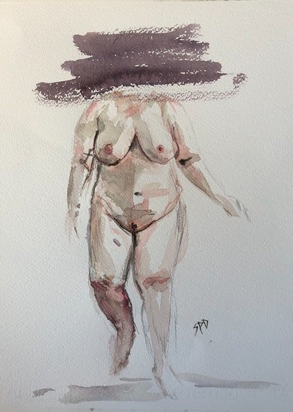 (CreativeWork) More than a body by Sarah Poyser. watercolour. Shop online at Bluethumb.