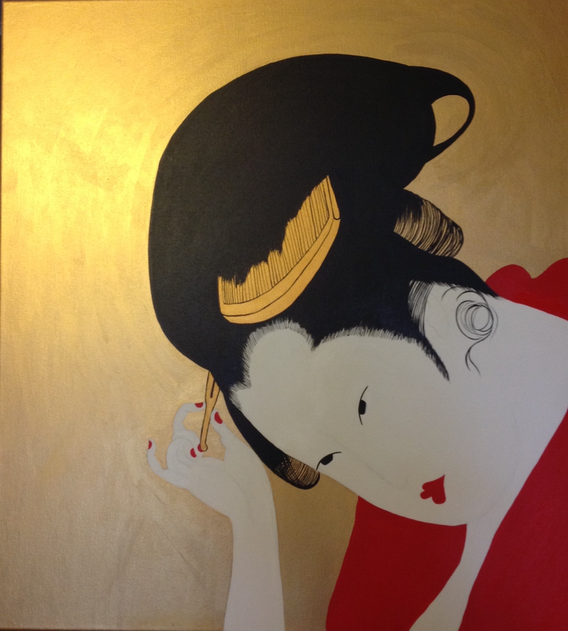 (CreativeWork) Geisha  by Julia Karpathakis. arcylic-painting. Shop online at Bluethumb.