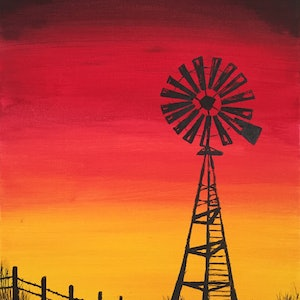 (CreativeWork) Windmill at Woori Yallock by Mary-Anne Valla. arcylic-painting. Shop online at Bluethumb.