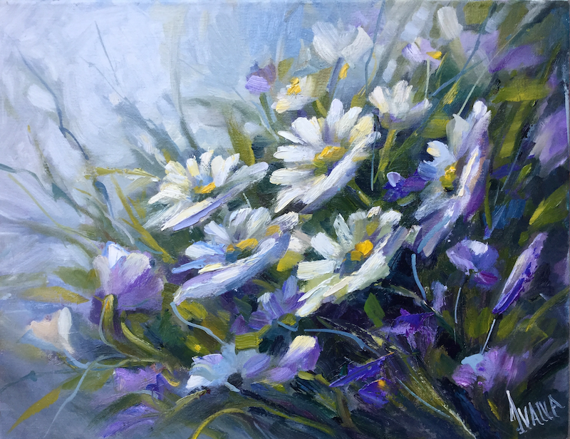 (CreativeWork) Daisies by Ivana Pinaffo. oil-painting. Shop online at Bluethumb.
