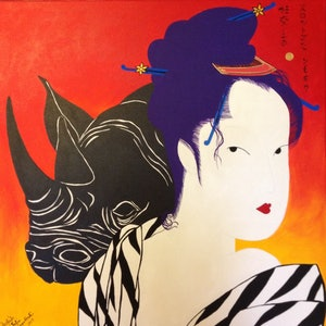 (CreativeWork) Geisha 2 by Julia Karpathakis. arcylic-painting. Shop online at Bluethumb.