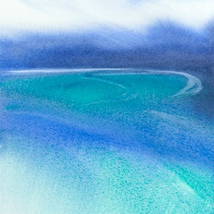 (CreativeWork) Wineglass Bay, Tasmania by Scott Swinson. watercolour. Shop online at Bluethumb.