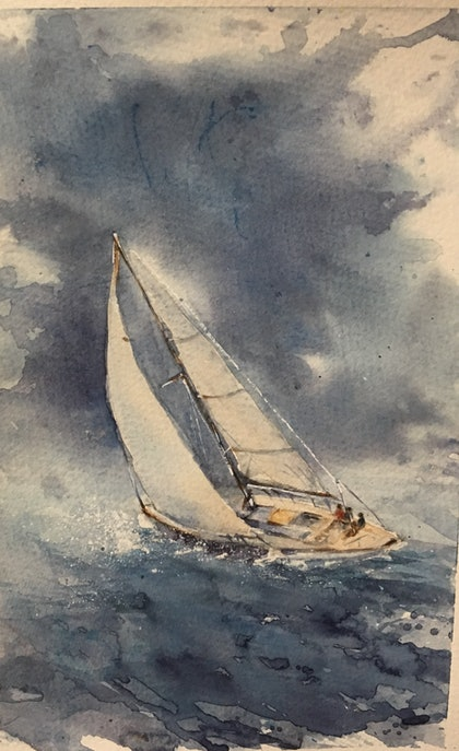 (CreativeWork) Into the Storm by Carol Pease. watercolour. Shop online at Bluethumb.