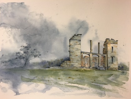 (CreativeWork) Whispers of Port Arthur  by Carol Pease. watercolour. Shop online at Bluethumb.