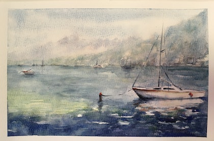 (CreativeWork) Queenstown Mooring by Carol Pease. watercolour. Shop online at Bluethumb.