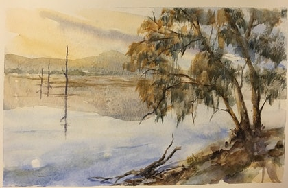 (CreativeWork) Morning Stillness by Carol Pease. watercolour. Shop online at Bluethumb.