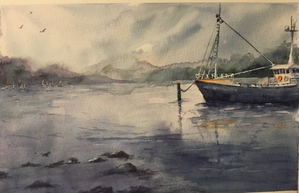 (CreativeWork) Strahan Stillness by Carol Pease. watercolour. Shop online at Bluethumb.
